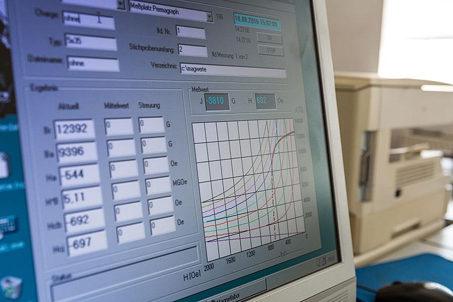 Messung und Ausgabe der magnetischen Werte und Entmagnetisierungskurven