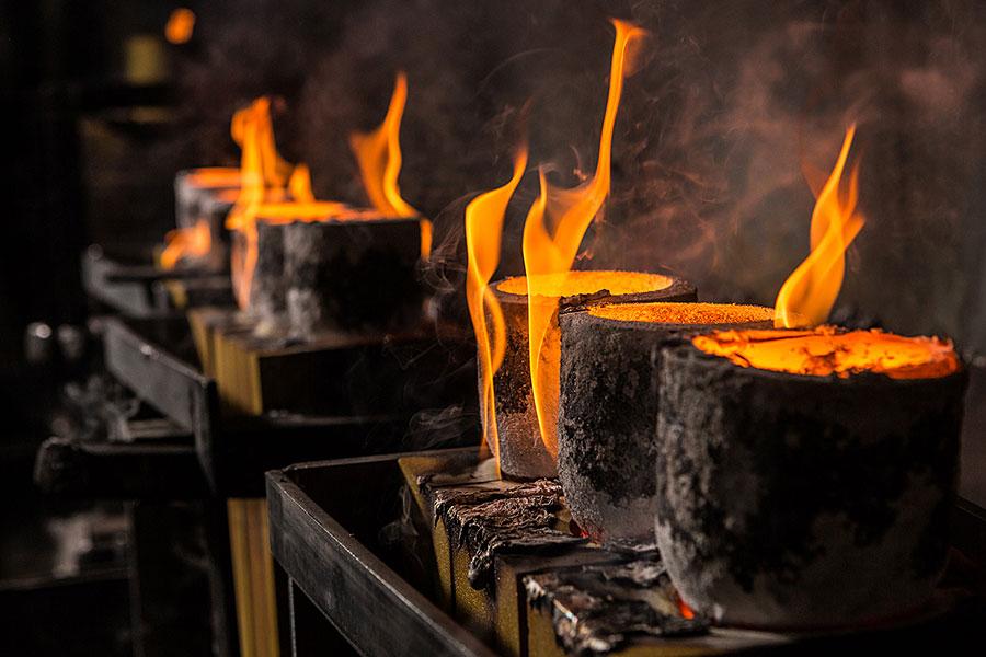 Gussmasken nach dem Gießen (Abbrand)